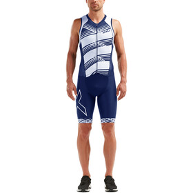 2XU Compression Trisuit con zip intera Uomo, navy/navy white lines